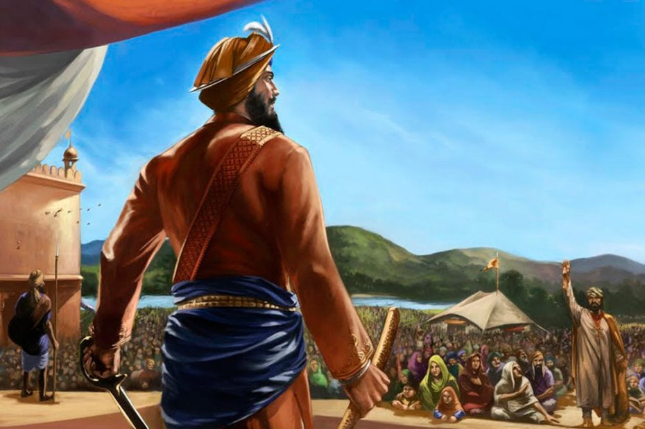 Gobind Rai (as Guru Gobind Singh was then known) seeking Sacrifice